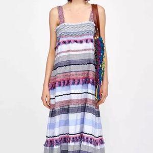 Zara embroidered cotton midi / maxi dress - Sz S